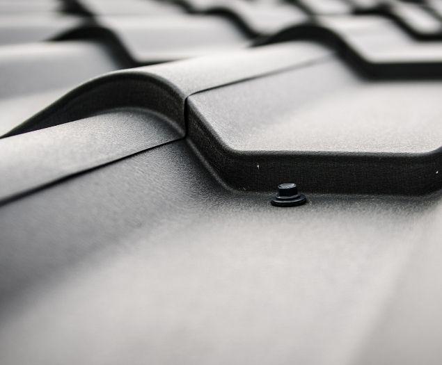 A closeup of a commercial metal roof