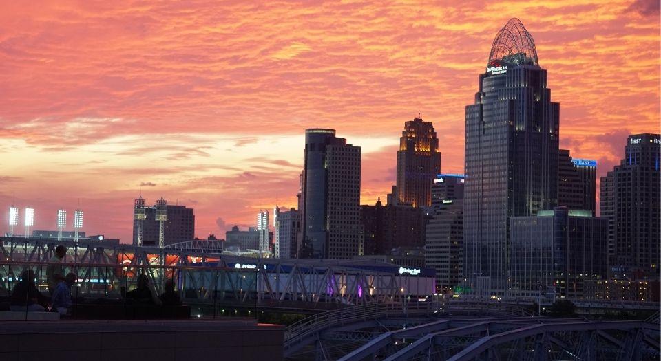 Downtown Cincinnati's skyline during the sunset