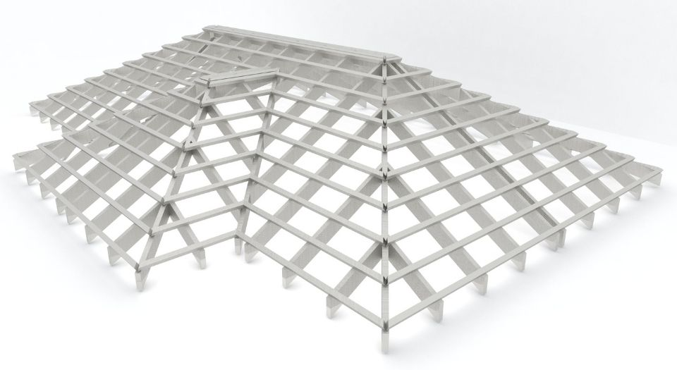 The frame of a new roof